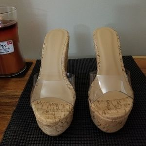 Miss Lola clear and cork wedge